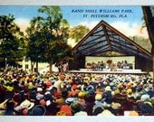 Vintage Linen Postcard Band Shell Williams Park, St. Petersburg, Florida