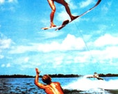 1954 Vintage Postcard, Curteich Cypress Gardens Water Skiing Helicopter Spin