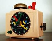 Vintage Clock, Toy Alarm Clock, Fairlane Time Teacher Clock
