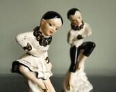 Vintage Figurines Ballerina Ceramic Dancer Statues, Black, White, and Gold Ballet Dancers