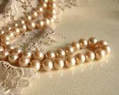 Vintage Long Faux Glass Pearl Necklace