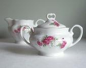 Vintage Cream and Sugar Bowl Set,  Rosebud Red by Karolina / Favolina
