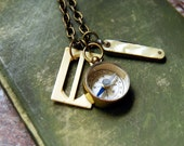 Traveler's Necklace Vintage Compass Pocket Knife Buckle Camping Jewelry
