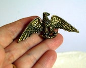 Vintage Brooch 1950s Pin Brass Bald Eagle Zentall Costume Jewelry Metal Bird Winter Accessories Retro Collectibles Patriotic United States