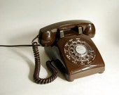 Vintage Telephone Late 1970s Chocolate Brown ITT Telephone Rotary Dial