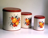 Vintage Metal Canister Set, Decoware Country Kitchen Storage Containers with Orange Peaches Red Strawberries Organization Rustic Home Decor