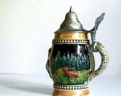 Vintage Beer Stein Mug with Pewter Lid, Black Forest Scenes