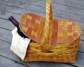 Vintage Picnic Basket Wicker with Wood Double Lid
