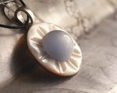 Vintage Button Necklace Blue Moon Mother of Pearl Pendant Necklace Eco Friendly Jewelry Women Accessories White OOAK