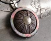 Vintage Button Necklace Purple Dusk Celluloid Button Jewelry Eco Friendly Silver Gray Pendant Necklace