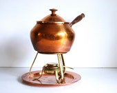 Vintage Fondue Pot Set Copper Tagus from Portugal
