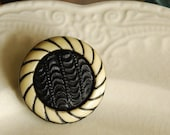 Vintage Button Brooch Black and Cream Victorian Black Glass and Celluloid Button Jewelry
