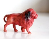 Vintage Lion Figurine, Plastic Animal, Toy Celluloid Leo Red Lion Made in United States
