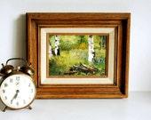 Vintage Landscape Oil Painting Impressionist Woodland Framed Art by Mary Genser
