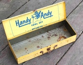 Vintage Toy Toolbox Handy Andy Tool Set Rusty Tool Box