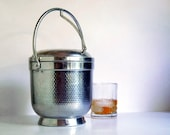Vintage Aluminum Ice Bucket Mid Century Barware Hammered Aluminum Made in Italy
