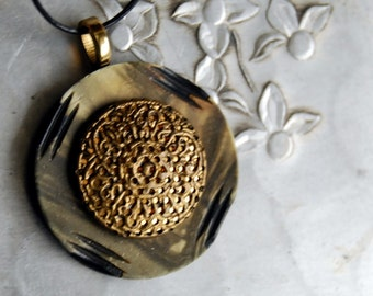 Vintage Button Necklace, Gold Filigree Pendant Jewelry Warm Brown Eco Friendly Jewelry Winter Accessories Metal Twinkle Celluloid