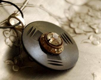 Vintage Button Necklace, Art Deco Rhinestones, Celluloid Buttons, Eco Friendly Jewelry, Black Boho Pendant Necklace, Women Accessories