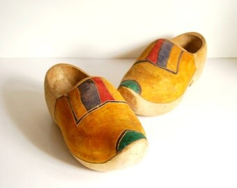 Dutch Wooden Shoes, Hand Carved Clogs, Adult Size Gardening Shoes, Primitive Rustic Home Decor, Saint Nicholas Day, Vintage Folk Art