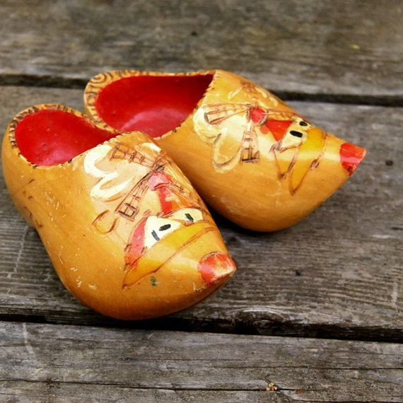 Vintage Miniature Wooden Shoes from Holland