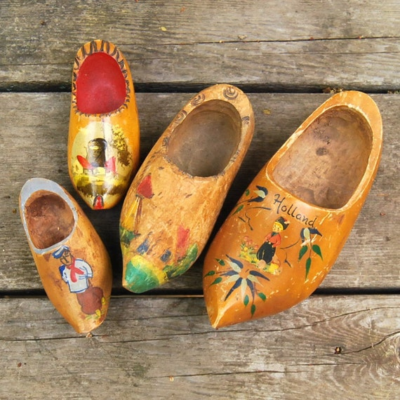 Vintage Wooden Shoes From Holland Collection