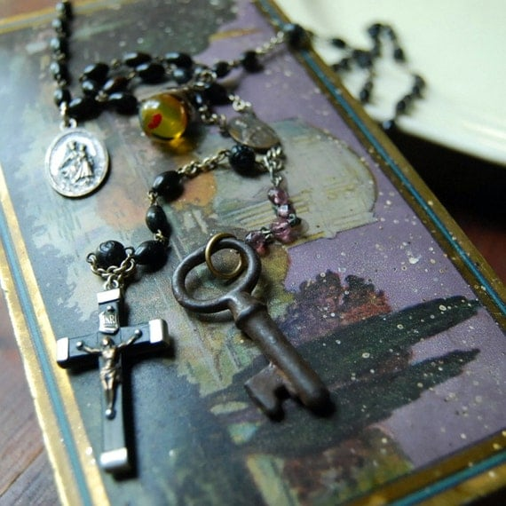Vintage Rosary Button Necklace Key to the Kingdom Recycled Rosary Beads Jewelry