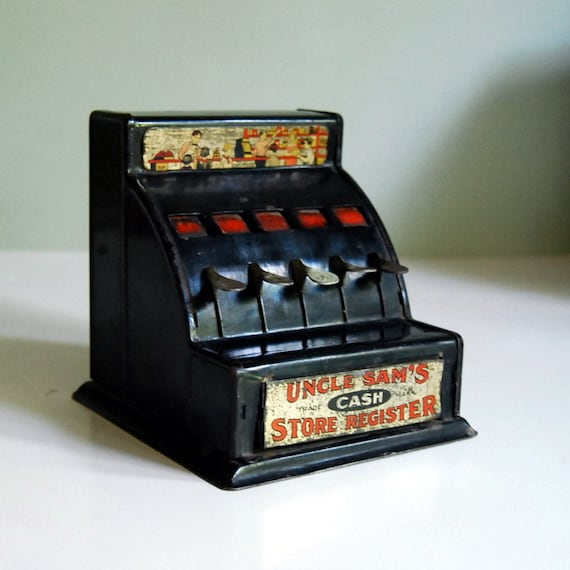 1934 Vintage Uncle Sam Toy Cash Register, by Durable Toy and Novelty