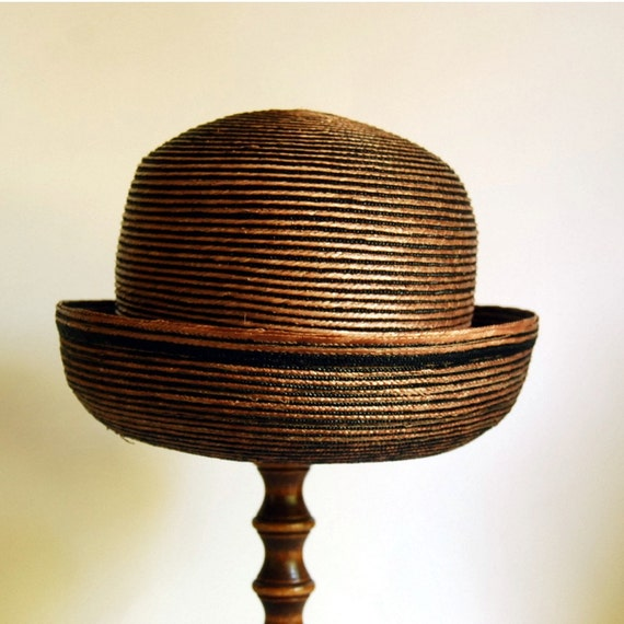 Vintage Straw Hat 1960s Mr. John Black and Brown Striped Straw Hat / Etsy Black Friday, Etsy Cyber Monday