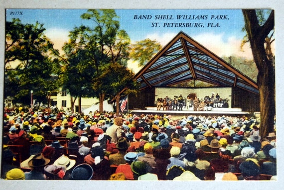 Vintage Linen Postcard Band Shell Williams Park, St. Petersburg, Florida
