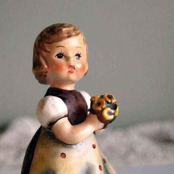 Vintage Hummel Figurine, For Mother, Girl with Flowers, TMK 4, 1963