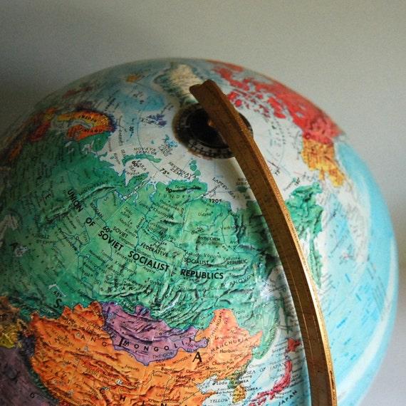Vintage Repogle World Nation Globe, Circa 1985
