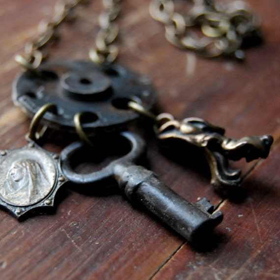 Steampunk Necklace Heaven or Hell Skeleton Key Necklace with Wolf and Religious Charms