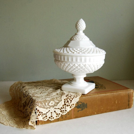 Vintage Westmoreland Milk Glass Candy Dish, Waterford Pattern, Hobnail with Lid