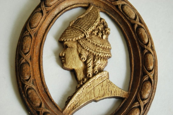 Vintage Syroco Wood Wall Plaque Victorian Woman Profile Wall Hanging