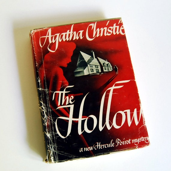 Vintage Mystery Book, 1946 Agatha Christie The Hollow, Hercule Poirot Burgundy Red