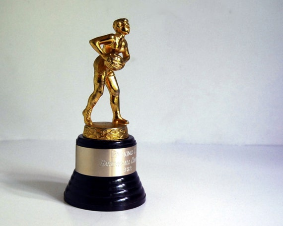 Vintage Trophy 1950s Womens Basketball Sports Trophy Figurine with Bakelite Base