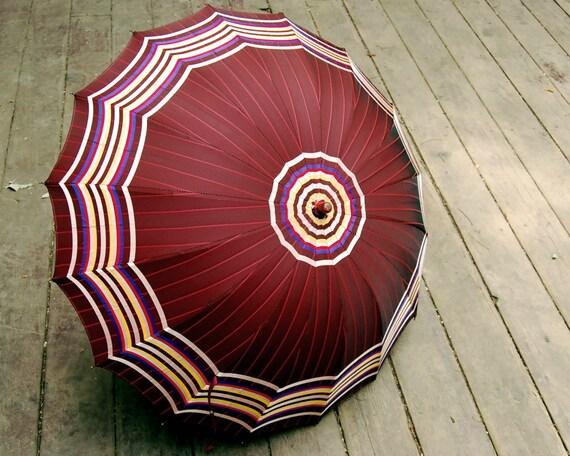 Vintage Umbrella Striped with Plastic Handle