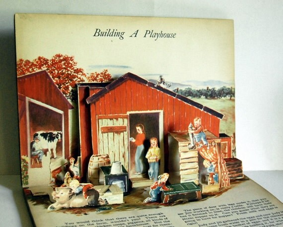 1948 Vintage Pop Up Book, Jolly Jump-Ups on the Farm Childrens Book