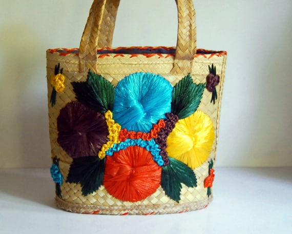 Vintage Straw Beach Tote Bag with Raffia Flowers