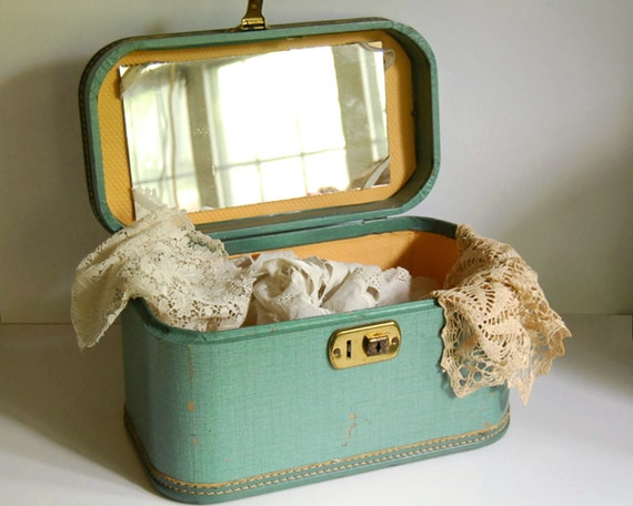 Vintage Luggage Train Case with Mirror