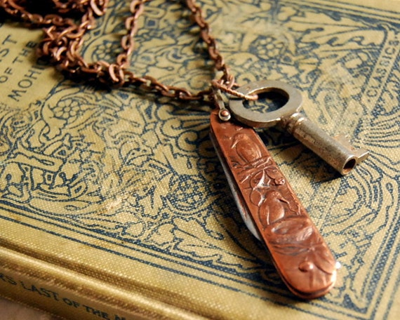 Vintage Pocket Knife Necklace, Skeleton Key, Copper Bird Lovers Pen Knife