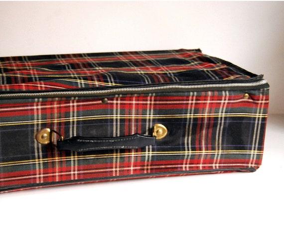 Vintage Suitcase Red Plaid Folding Luggage Retro Home Decor
