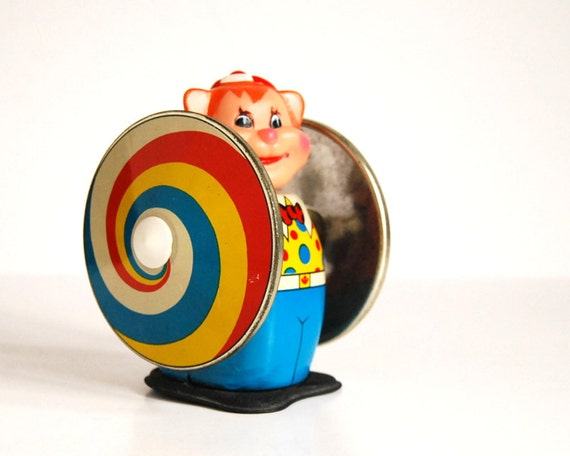 Vintage Tin Toy Clown Spinning Wind Up Toy