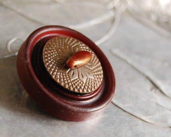 Vintage Button Brooch Metallic Cranberry Celluloid Button Jewelry