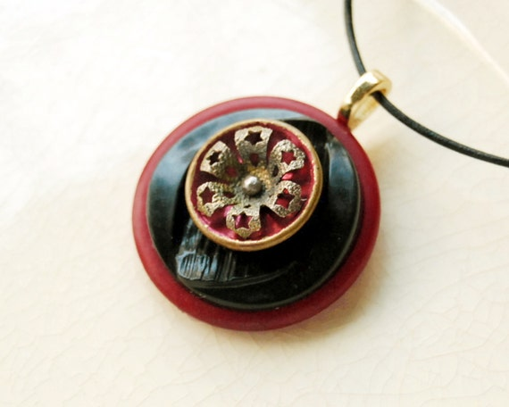 Reserved for Lynn -- Vintage Button Necklace Cranberry Sparkle Button Jewelry
