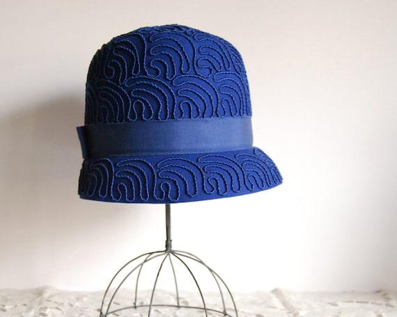 1960s Hat Mod Cloche Valerie Modes Cobalt Blue Wool Felt Mid Century Fashion Cobalt Wedding Mad Men Fashion Vintage Women Accessories