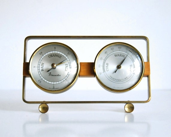 Vintage Barometer and Thermometer, Desktop Weather Forecaster Western Germany