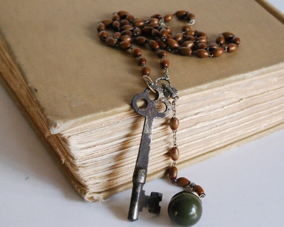 Vintage Rosary Necklace Green Bakelite Ball Button with Skeleton Key and Italian Wood Rosary Recycled Jewelry