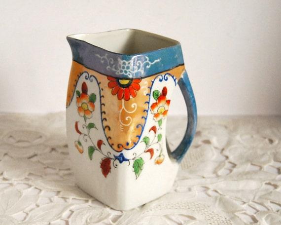 Vintage Pitcher Lusterware Japan Milk or Juice Pitcher Floral Shabby Chic