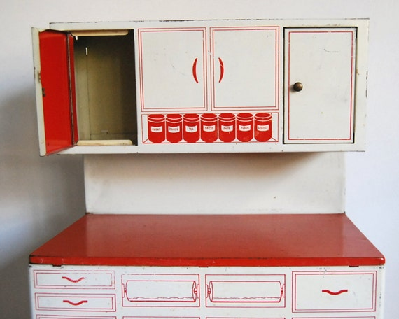 Vintage Kitchen Toy Tin Hoosier Cabinet Wolverine 1950s Hutch Red White
